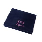 PetsPyjamas - Personalised Navy Bone Dog Blanket - Italic font