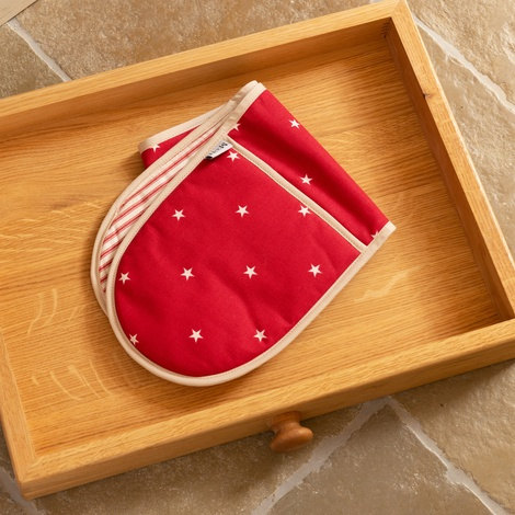 Cranberry Star Cotton with Red Ticking Stripe Oven Glo 4