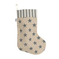 Navy Star Linen Christmas Stocking