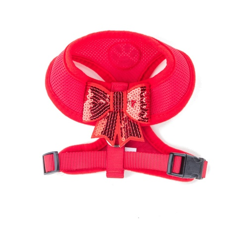 Red Sequined Bow Dog Harness