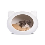 GuisaPet - White Cat Cave with Beige Cushion