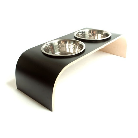 Black & Natural Raised Dog Bowl Holder