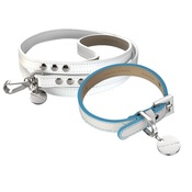 Hennessy & Sons - Polo Club Dog Collar & Lead Set - Light Blue Edging