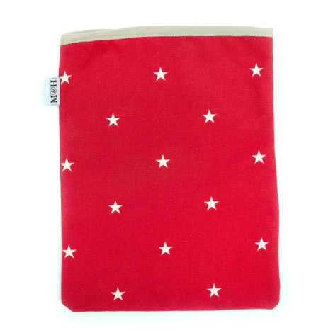 Cranberry Star Cotton with Red Ticking Ipad Case