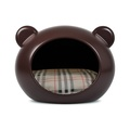 Medium Brown Dog Cave with Tartan Cushion