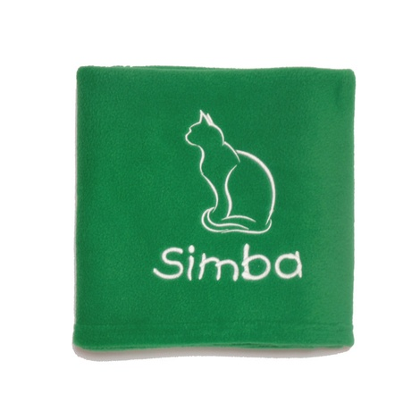 Personalised Christmas Cat Blanket – Emerald Green