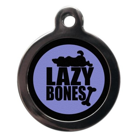 Purple Lazy Bones Pet ID Tag