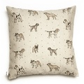 Dogs Linen Cushion - Natural