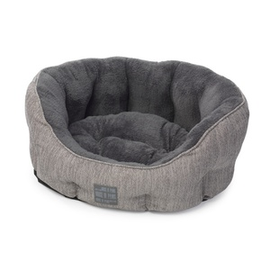 Grey Hessian Oval Dog Bed