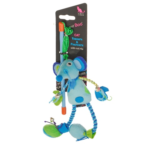 Cheeky Mouse Teaser Cat Toy - Blue