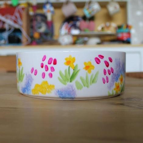 Personalised Meadow Flowers Dog Bowl 4