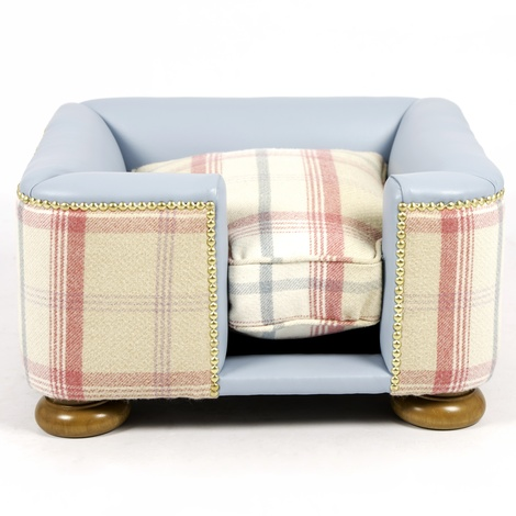 The Tetford Square Blue Leather & Sorbet Tweed Dog Bed