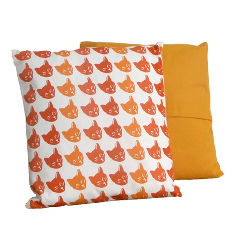 Cat Cushion Tricolour & Mustard - Multi Print
