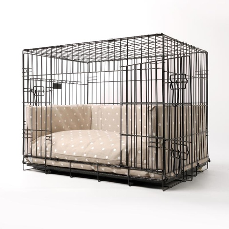 Dog Crate Mattress & Bed Bumper Set - Dotty Taupe 2