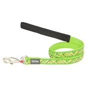 Red Dingo - Flanno Dog Lead – Lime Green
