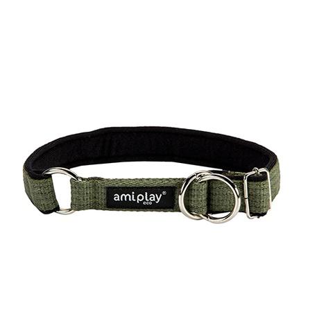 Ami Play Cotton Half Check Collar - Green