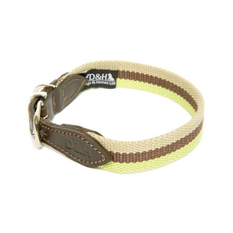 Green, Brown & Cream Wide Striped Webbing Collar