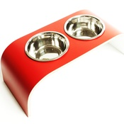 Lola and Daisy - Red & White Raised Pet Feeder