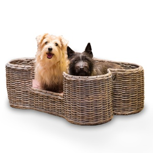 Rattan Kubu Dog Basket - Bone