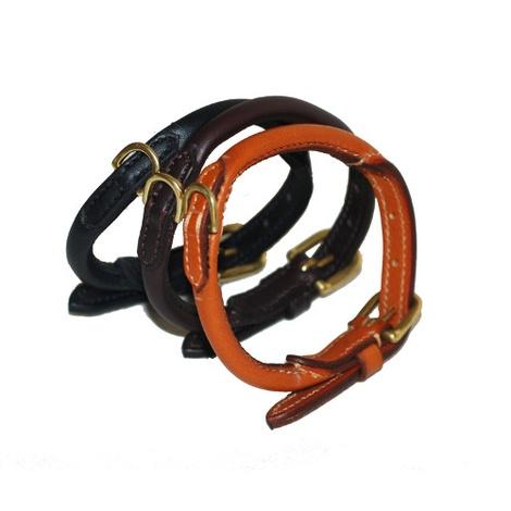 Handmade Rolled Leather Dog Collar - London Tan 3
