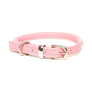 D&H Rolled Leather Collar - Pink