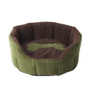 House of Paws - Tweed Bone Oval Dog Bed – Green