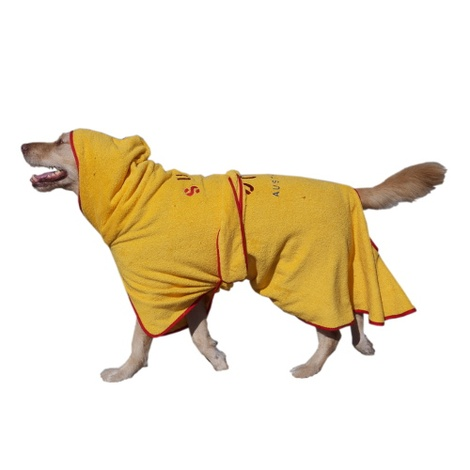 Microfibre Dog Dressing Gown - Yellow