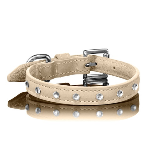 Tan Swarovski Dog Collar
