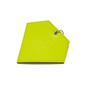 Hiro + Wolf - Leather Diamond Poo Bag Pouch - Neon Yellow