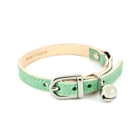 Baby Green Leather Cat Collar