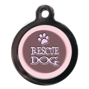 PS Pet Tags - Pink Rescue Dog Pet ID Tag