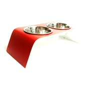 Lola and Daisy - Red & White Raised Dog Bowl Holder