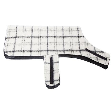 Luxury Black & White Check Mohair Dog Coat 3