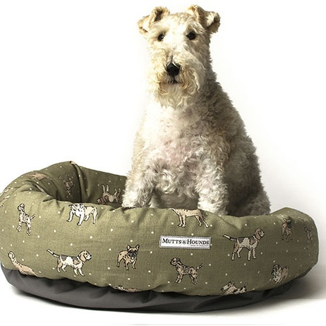 Dogs Linen Donut Bed - Green 2