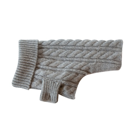 Kora Cable Knit Cashmere Dog Sweater - Dove