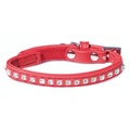 Catty Things Leather Look Diamante Cat Collar - Red