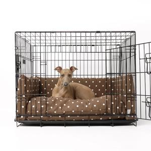 Dog Crate Mattress & Bed Bumper Set - Dotty Chocolate