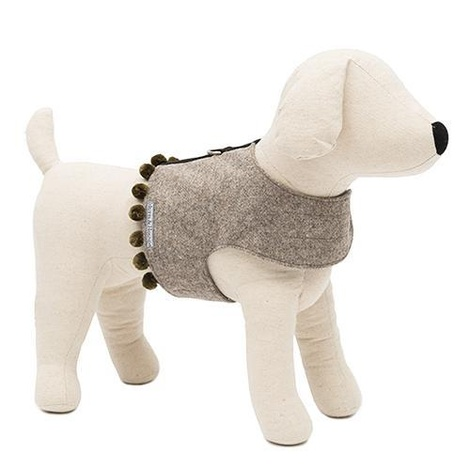 Grey Tweed Dog Harness with Pom Poms