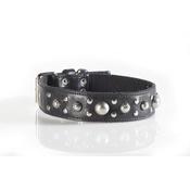 Kara Van Petrol - Fashion Dog Collar with Disco Ball Studding in Brown