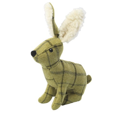 Green Tweed Plush Hare Dog Toy
