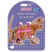 Hem & Boo - Snag-Free Kitten Harness & Lead Set - Pink