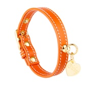 Chihuy - Orange and Gold Stitch Leather Collar