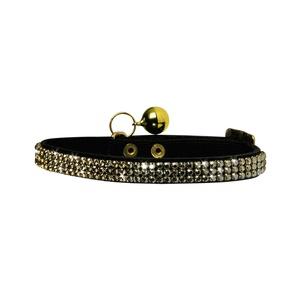 Crystal Princess Leather Cat Collar – Black