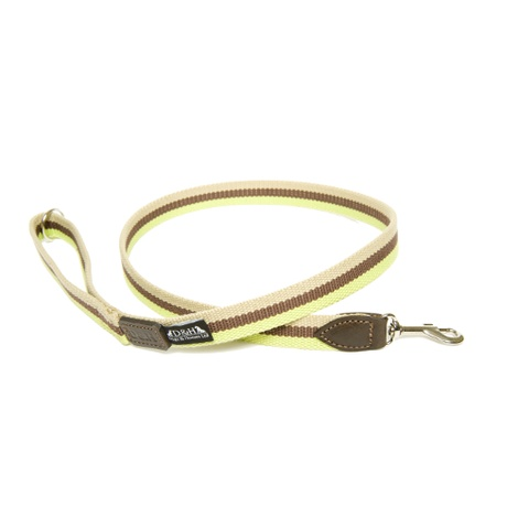 Green, Brown & Cream Wide Striped Webbing Lead