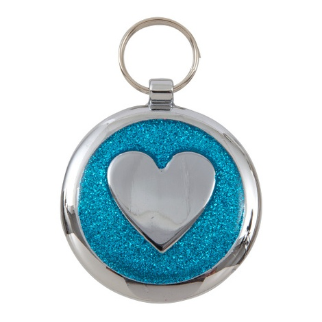 Shimmer Azure Blue Heart Pet ID Tag