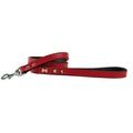 Bone Rivet  Dog Lead - Red