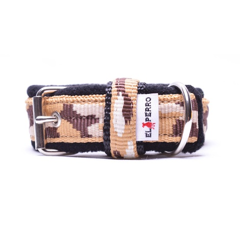 2.5cm width Fleece Comfort Dog Collar – Safari Camo