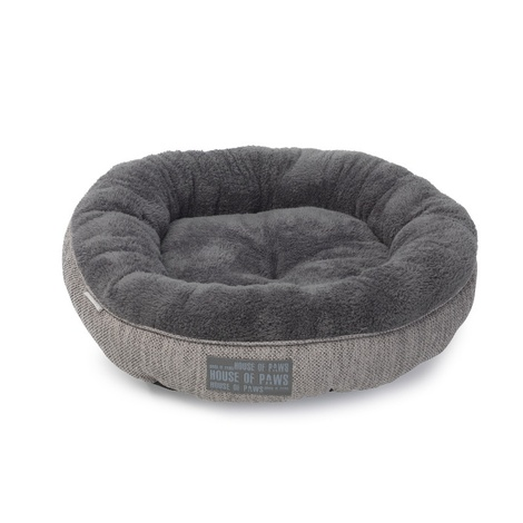 Grey Hessian Donut Cat Bed