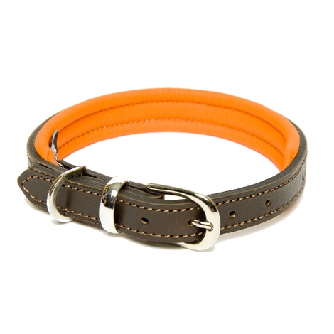 D&H Colours Leather Collar - Orange