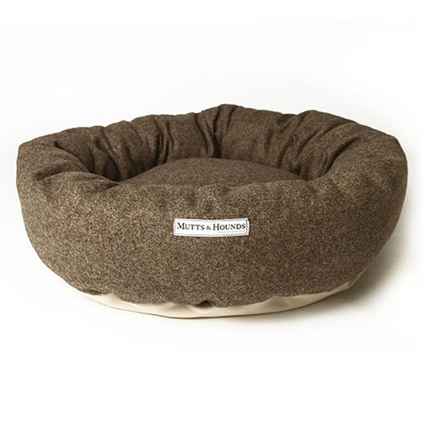 Herringbone Tweed Donut Dog Bed